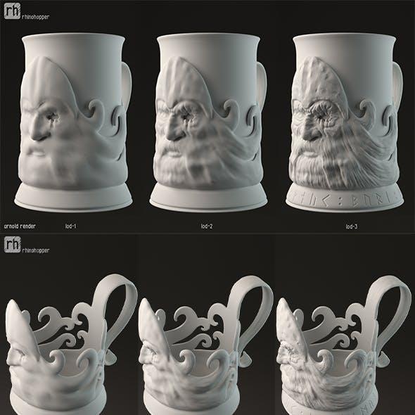 Odin shaped cup holder 3D print model