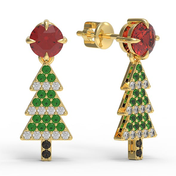 Christmas tree earrings - 3DOcean Item for Sale