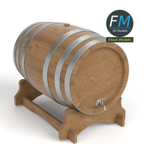 Wooden barrel with faucet - 3DOcean Item for Sale