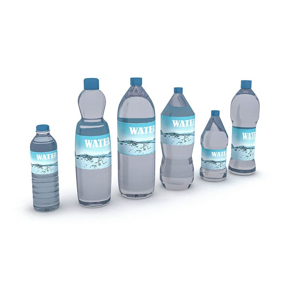 3D assortment of water bottles
