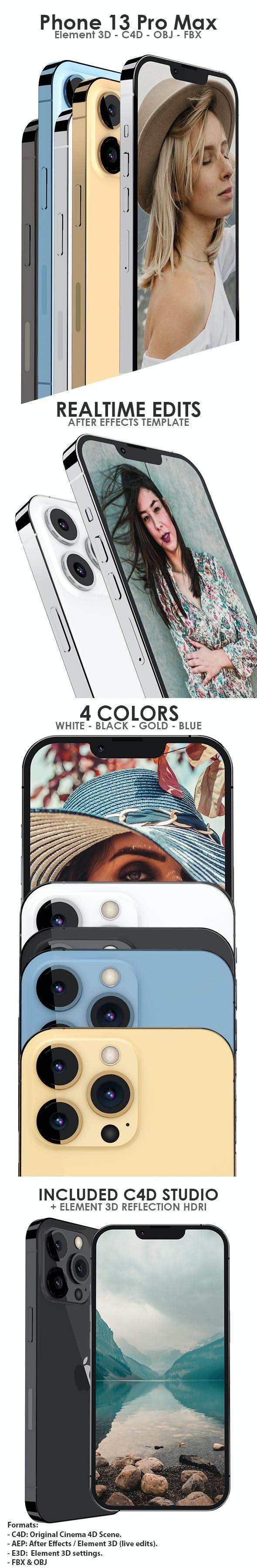 Element 3D iPhone 13 Pro Max - E3D & C4D - 3DOcean Item for Sale