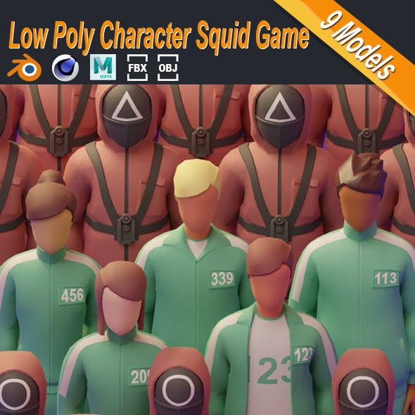 Low Poly Character Squid Game Illustration Stylized Set Low-poly 3D model