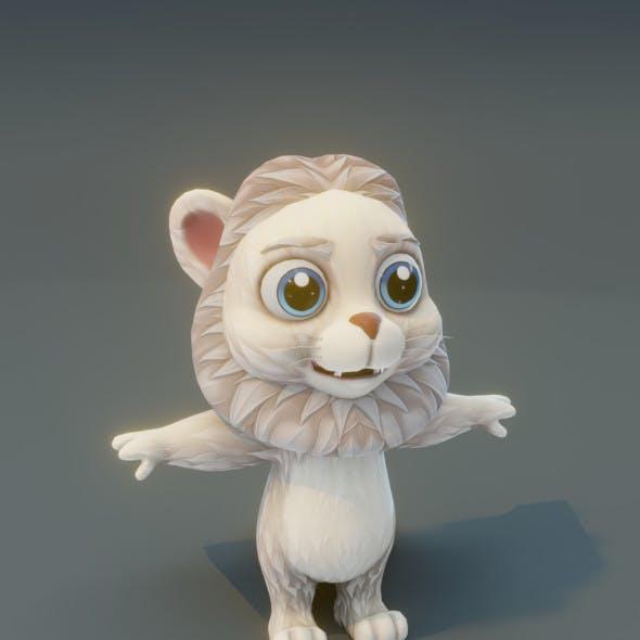 Cartoon White Lion 3D Model