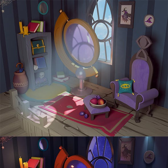 3d stylized room
