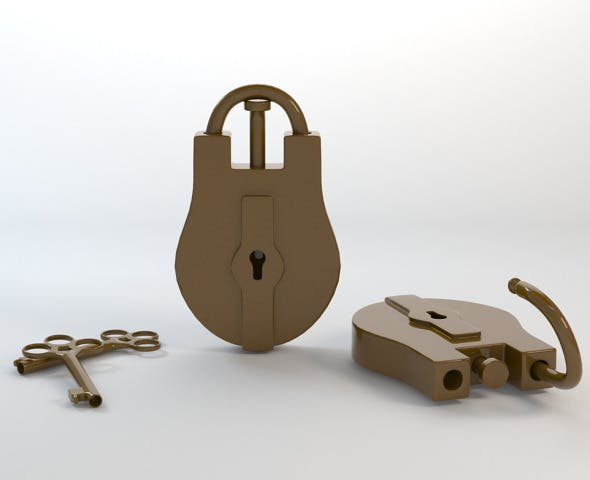 Old Lock with Key - 3DOcean Item for Sale