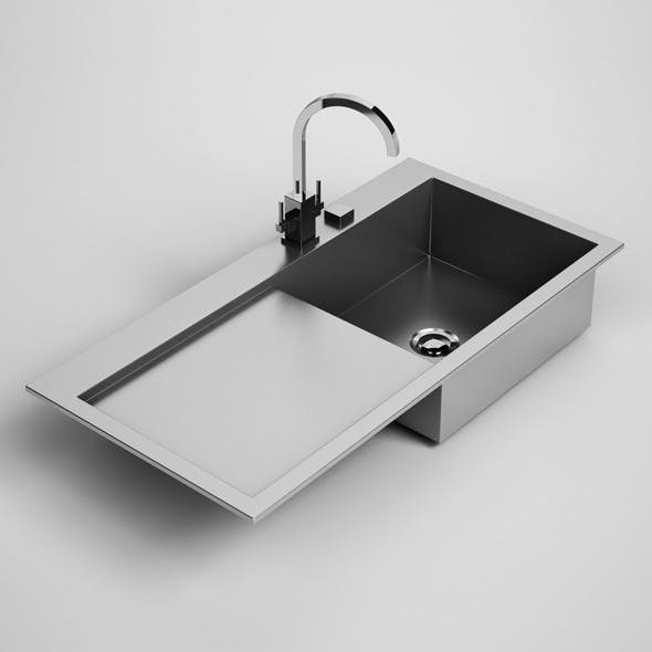 CGAxis Kitchen Sink with Drainboard 24