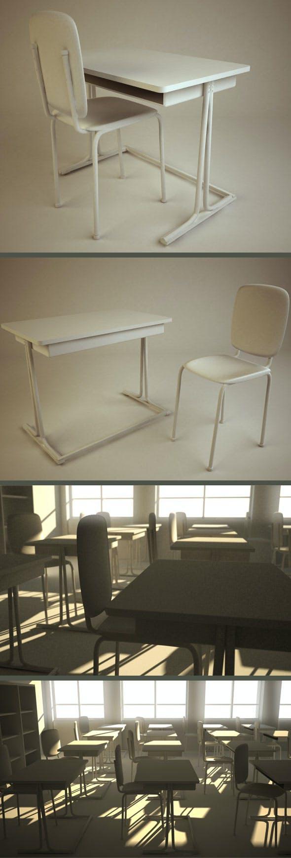 School Chair & Desk - 3DOcean Item for Sale
