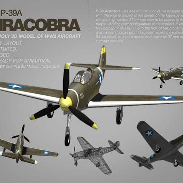 Bell P-39A Airacobra 3d model of WW2 aircraft