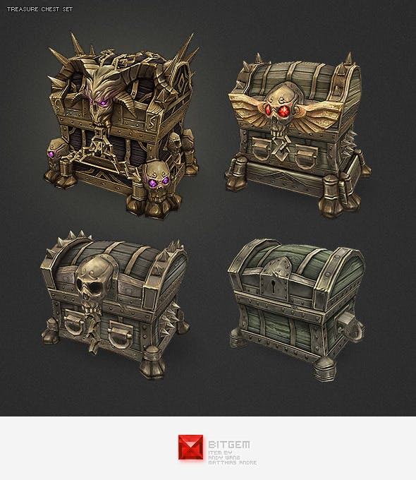 Low Poly Treasure Chest Set - 3DOcean Item for Sale