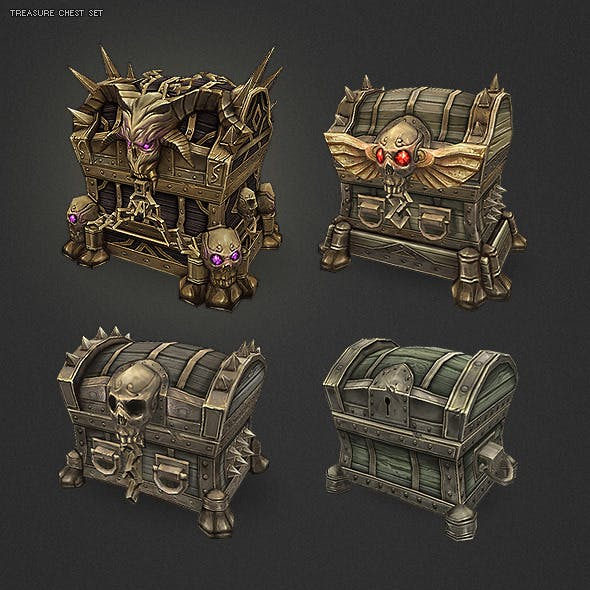 Low Poly Treasure Chest Set