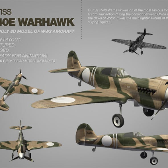 Curtiss P-40E Warhawk 3ds model of WW2 aircraft