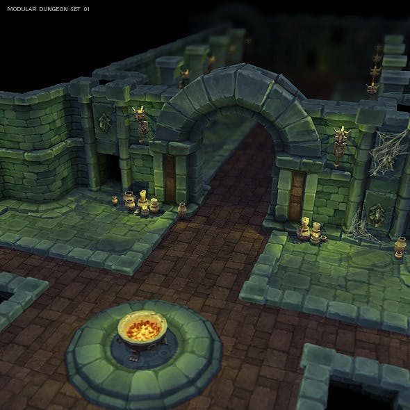 Low Poly Modular Dungeon Starter Set