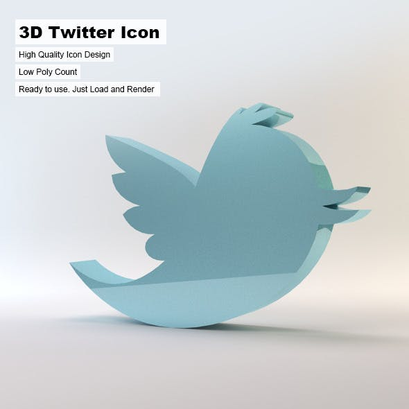 3D Twitter Icon