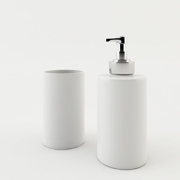 Bathroom Soap Dispenser and Mug
