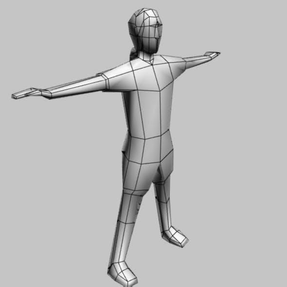 Low Poly People Man Base Object include Bone and R