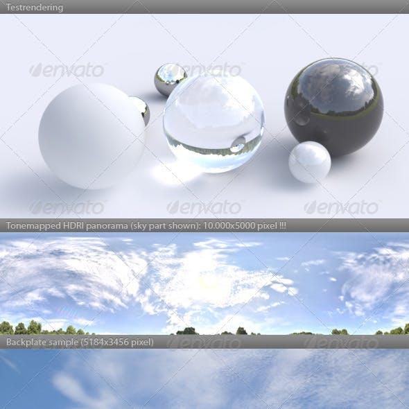 HDRI spherical panorama -1103- sunny sky clouds