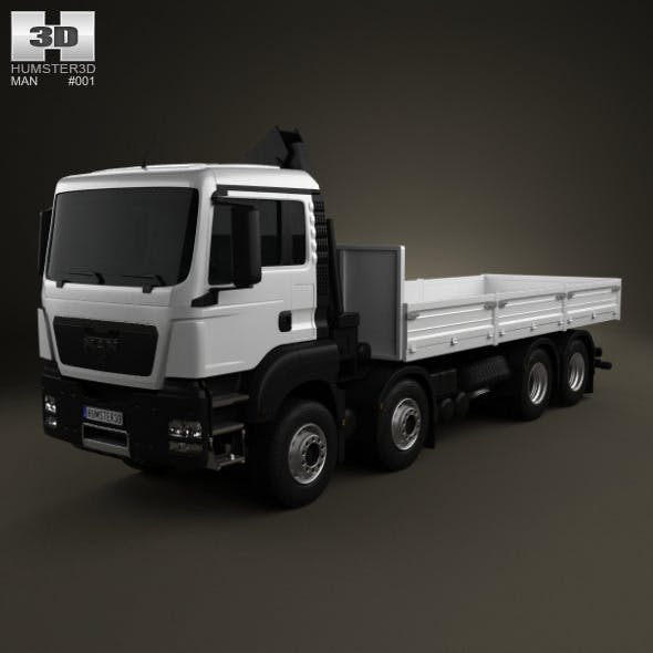 MAN TGS Flatbed Crane Truck 4-axis 2012 - 3DOcean Item for Sale