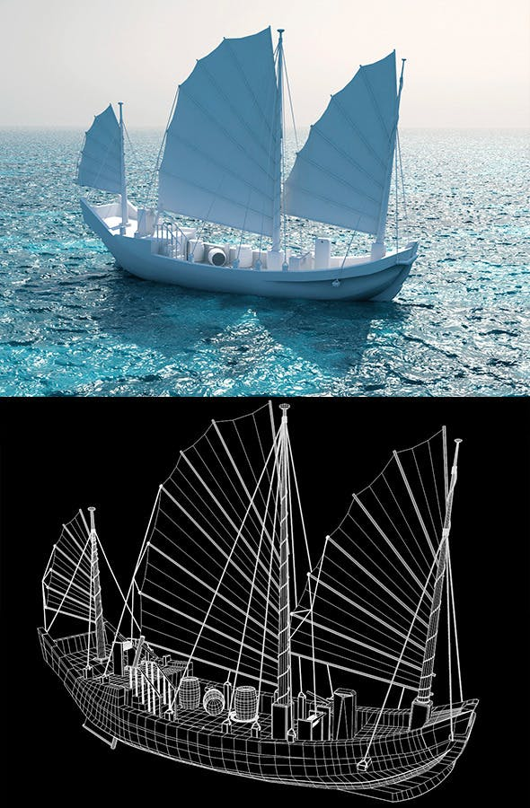 Chinese junk ship - 3DOcean Item for Sale