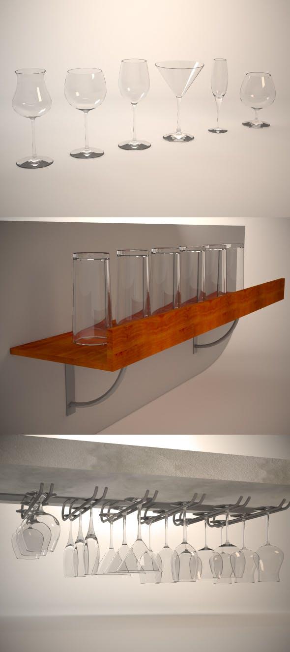 Glasses, shelf and glass holder - 3DOcean Item for Sale