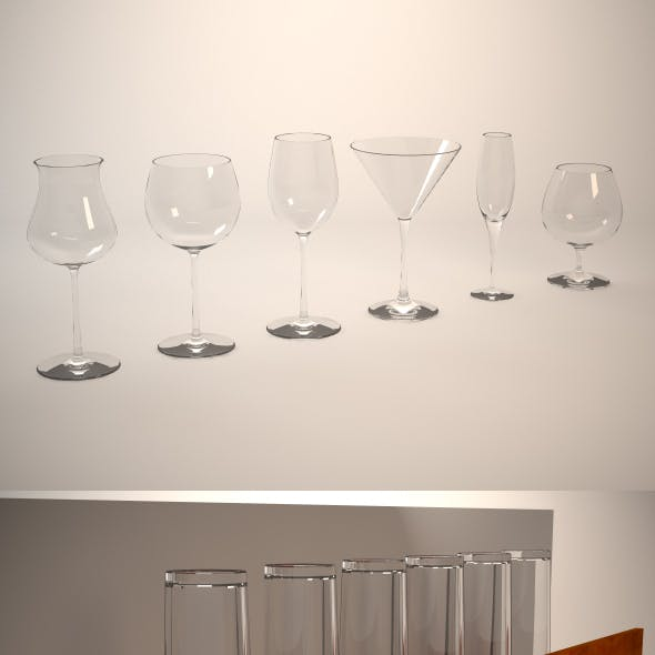 Glasses, shelf and glass holder