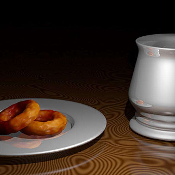 Silver cup and saucer with snacks