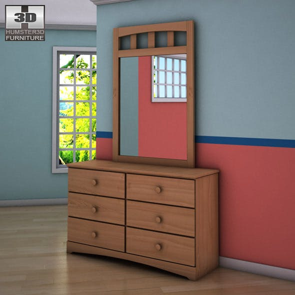 Ashley Benjamin Dresser & Mirror - 3DOcean Item for Sale