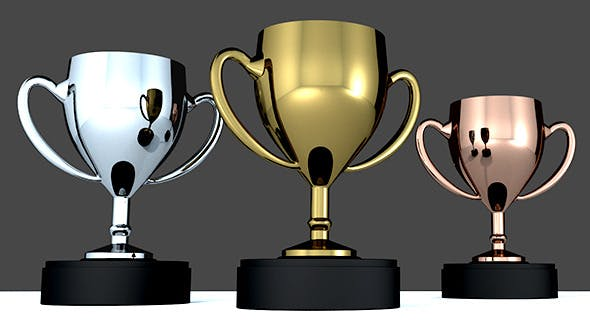Gold, Silver, Bronze trophies - 3DOcean Item for Sale