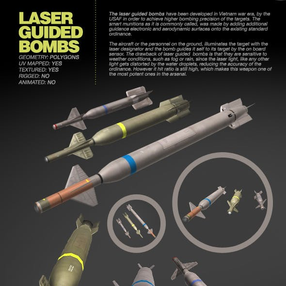 3 Laser Guided Bombs pack - 3ds max model