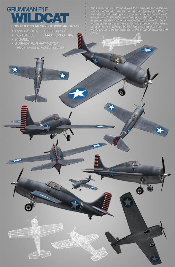 Grumman F4F Wildcat - 3Ds model of WW2 aircraft - 3DOcean Item for Sale