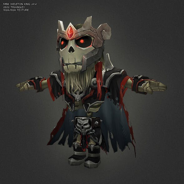 Low Poly Mini Skeleton King Jaw