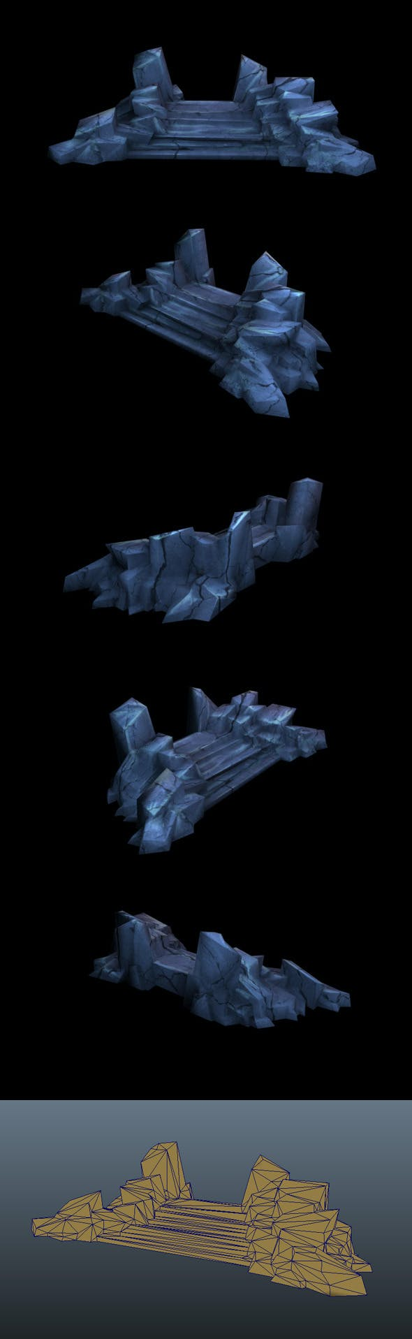 Low Poly Stone Stairs - 3DOcean Item for Sale
