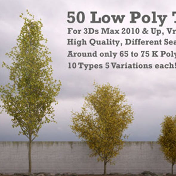 50 Low Poly Trees For 3Ds Max & Vray