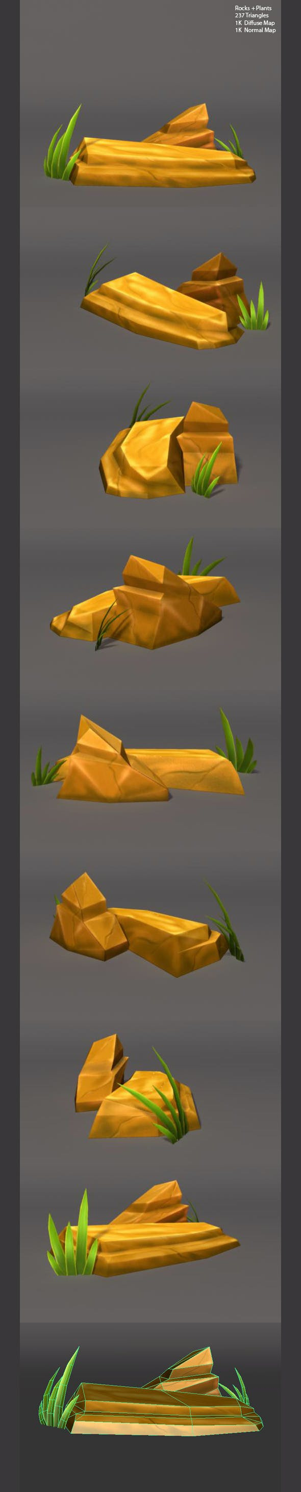 Low Poly Rocks and Plants - 3DOcean Item for Sale