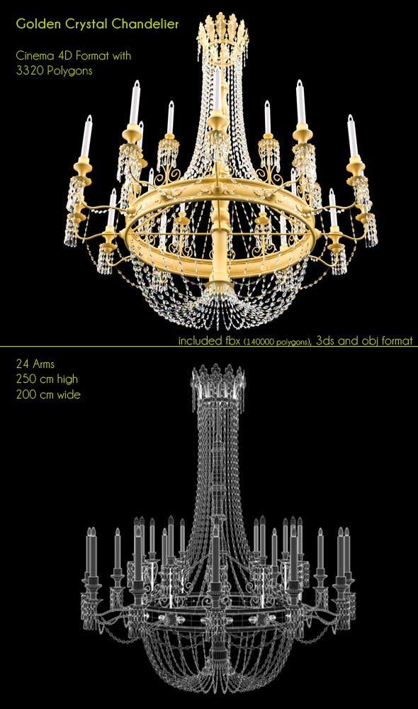 Golden Big Chandelier 24 lights - 3DOcean Item for Sale