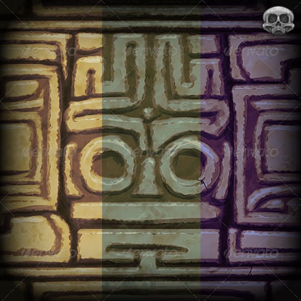 Hand Painted Aztec Wall Texture Tile - 3DOcean Item for Sale