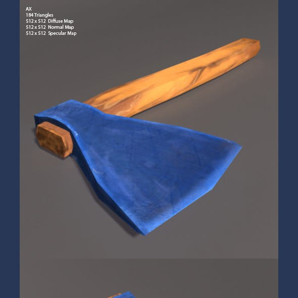 Low Poly and high Poly Axe