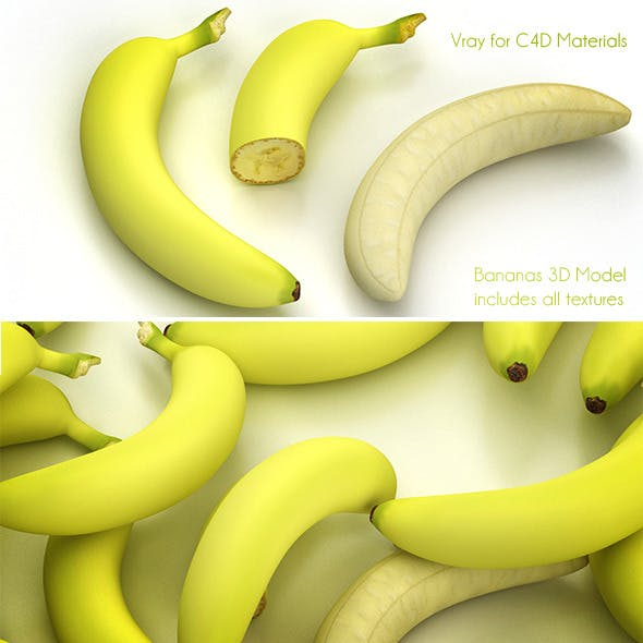 Banana full and half without paring - 3DOcean Item for Sale