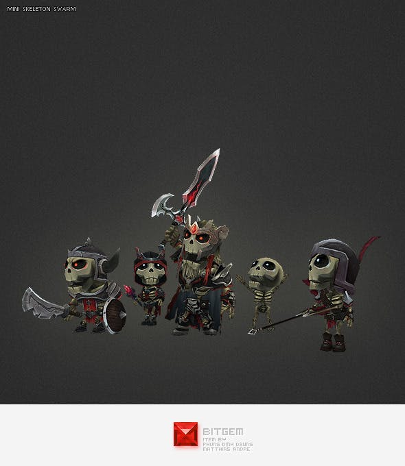 Low Poly Mini Skeleton Swarm Pack - 3DOcean Item for Sale