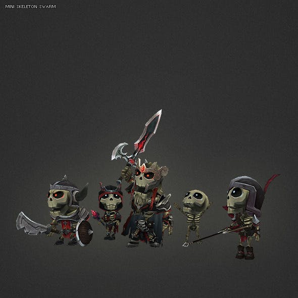 Low Poly Mini Skeleton Swarm Pack