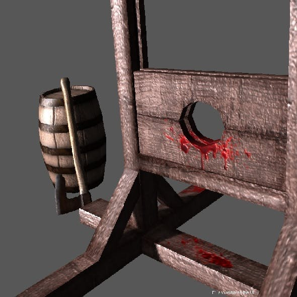 Medieval Guillotine Low Poly - 3DOcean Item for Sale