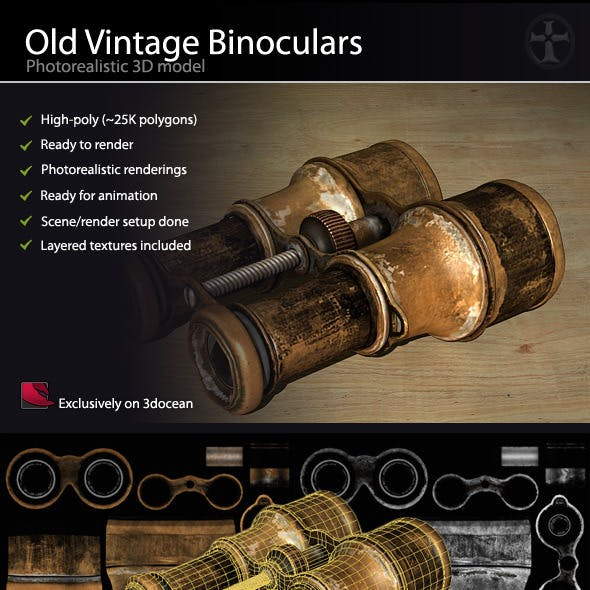 Old Vintage Binoculars - High Poly