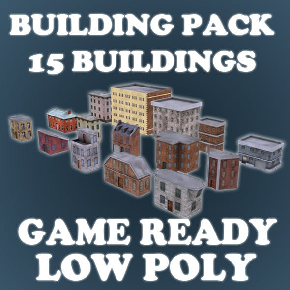 Low Poly Game Buildings Pack 01