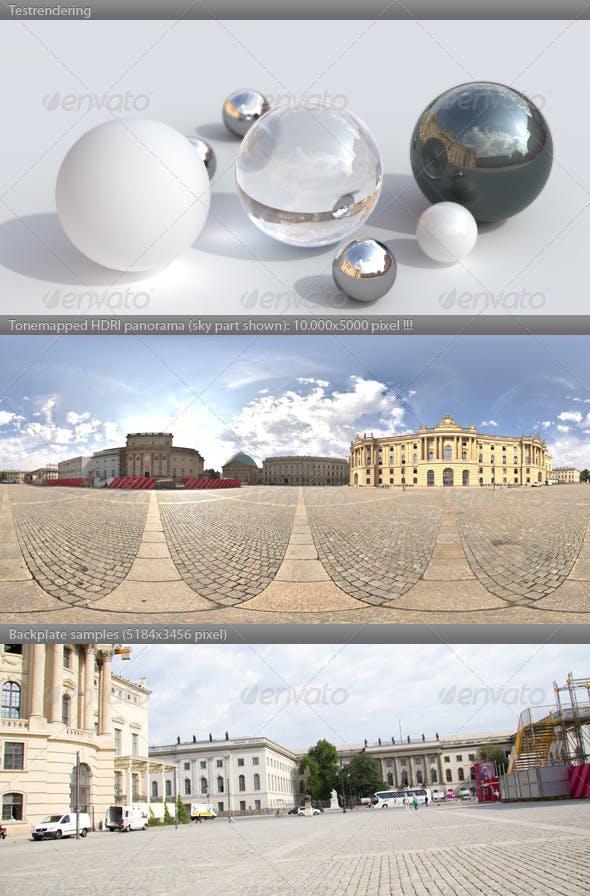 HDRI spherical panorama -0919- plaza sunny sky - 3DOcean Item for Sale