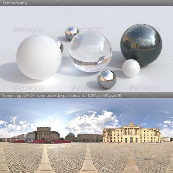 HDRI spherical panorama -0919- plaza sunny sky