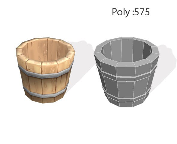 wooden buckets - 3DOcean Item for Sale
