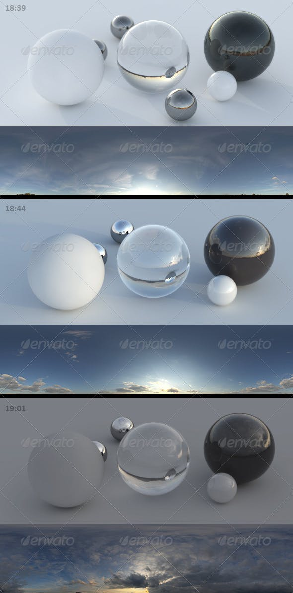 3er HDRI sky pack 03 - sunny clouds evening - 3DOcean Item for Sale