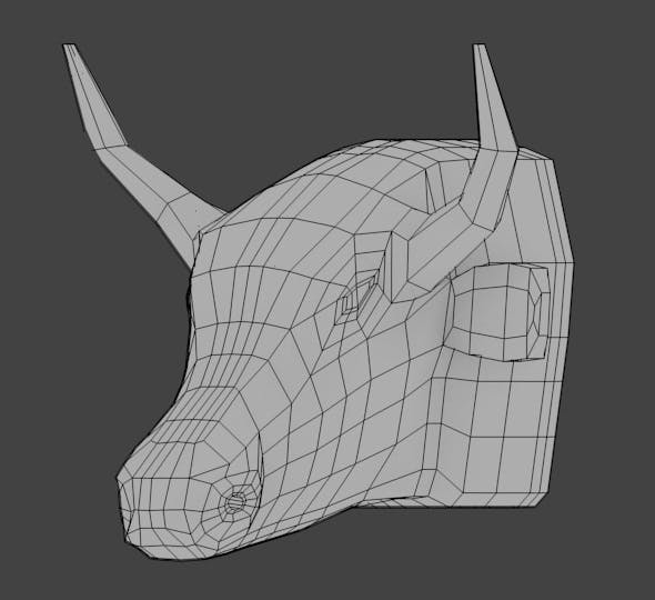 Bull Head Base Mesh - 3DOcean Item for Sale