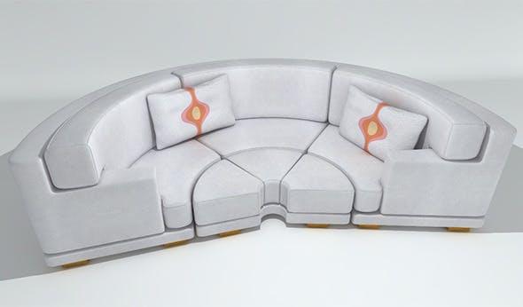 Circular Leather Sofa - 3DOcean Item for Sale