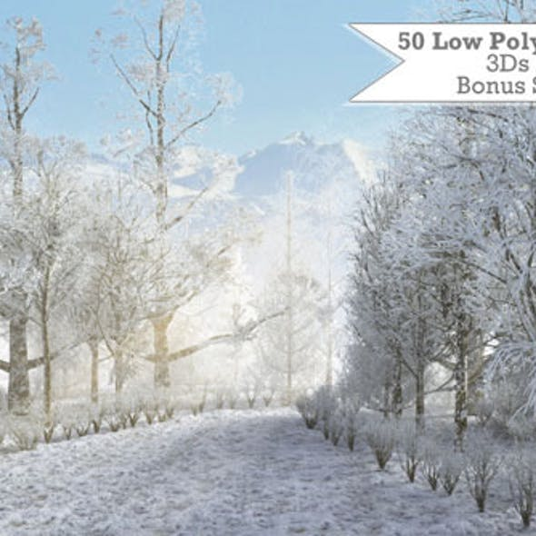 50 Low Poly Winter Trees For 3Ds Max & Vray
