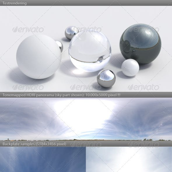 HDRI spherical panorama -1125- sunny sky / clouds